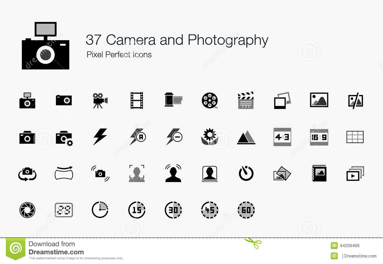 37 Camera Photography Pixel Perfect Icons Stock Vector