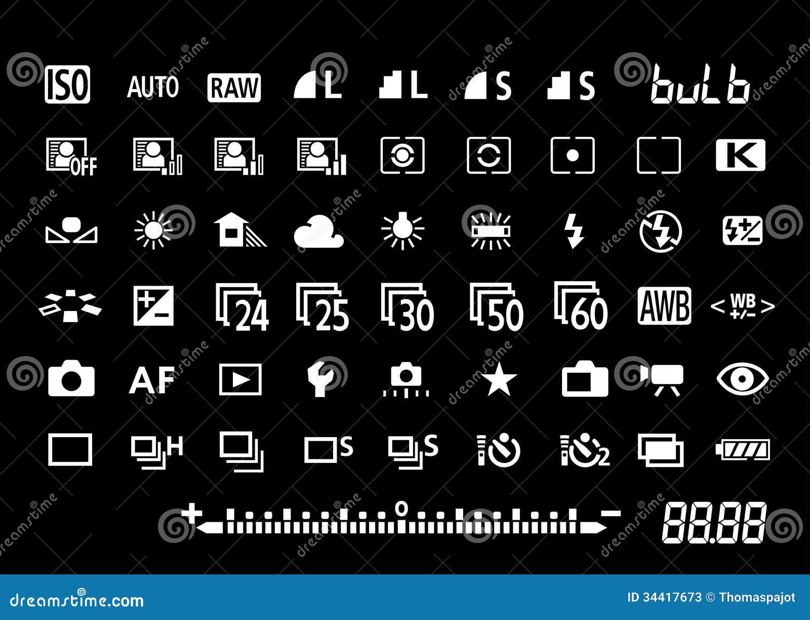 Camera Settings Symbols Stock Photos Image 34417673