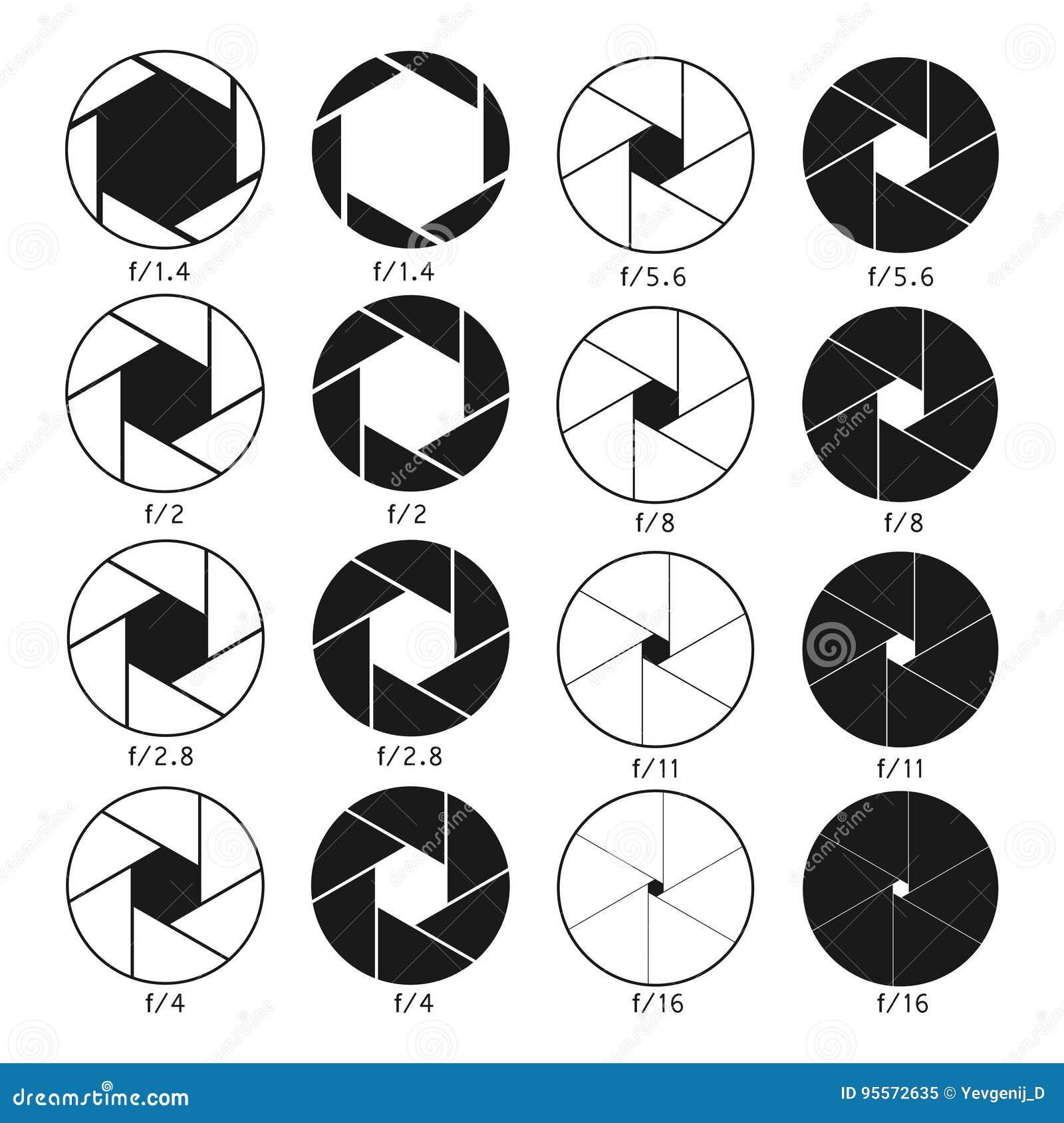 Camera shutter aperture icons set monochrome diagrams collection camera shutter aperture icons set monochrome diagrams collection pooptronica Images