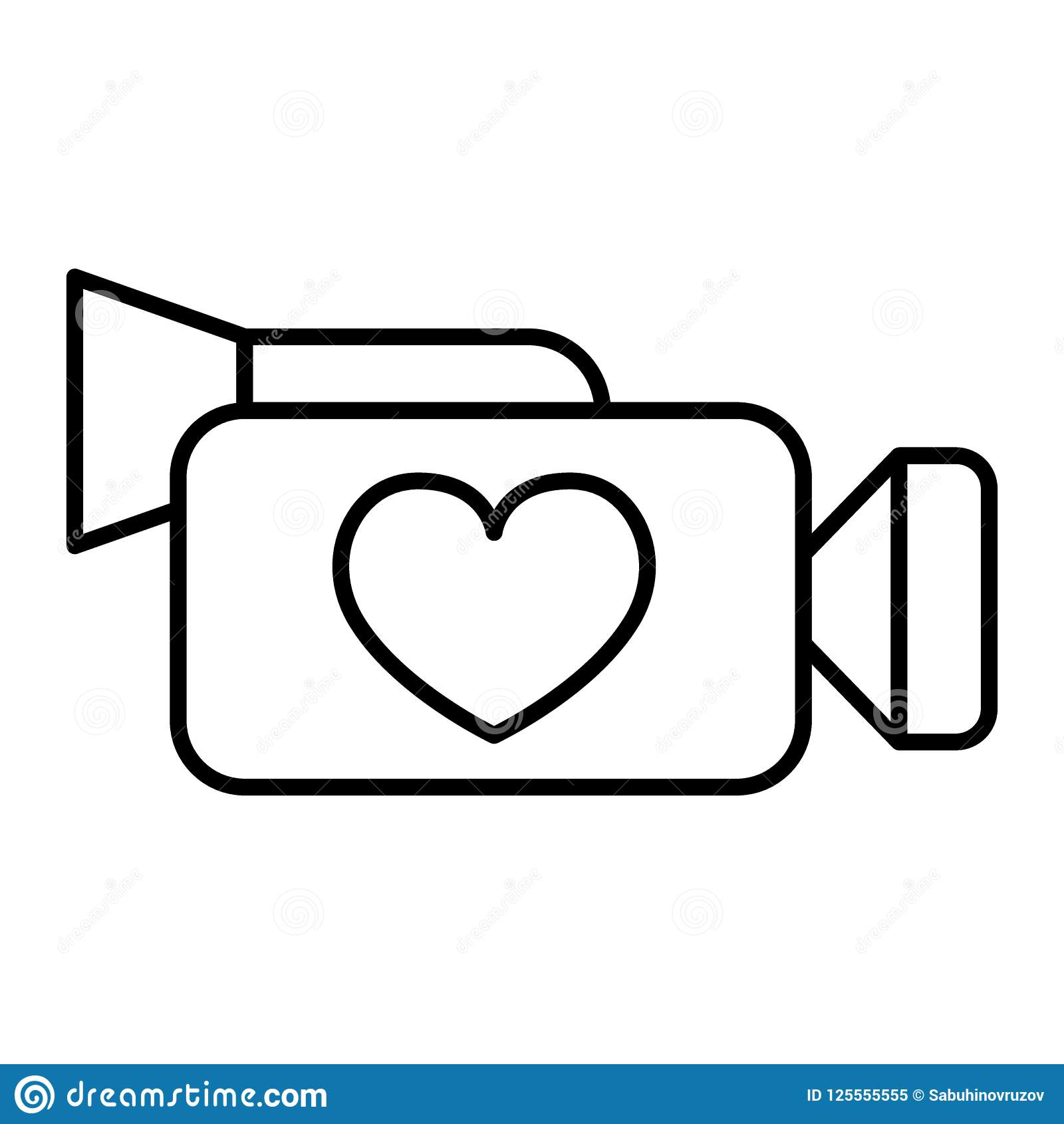 Camera Thin Line Icon Video Camera With Heart Vector Illustration