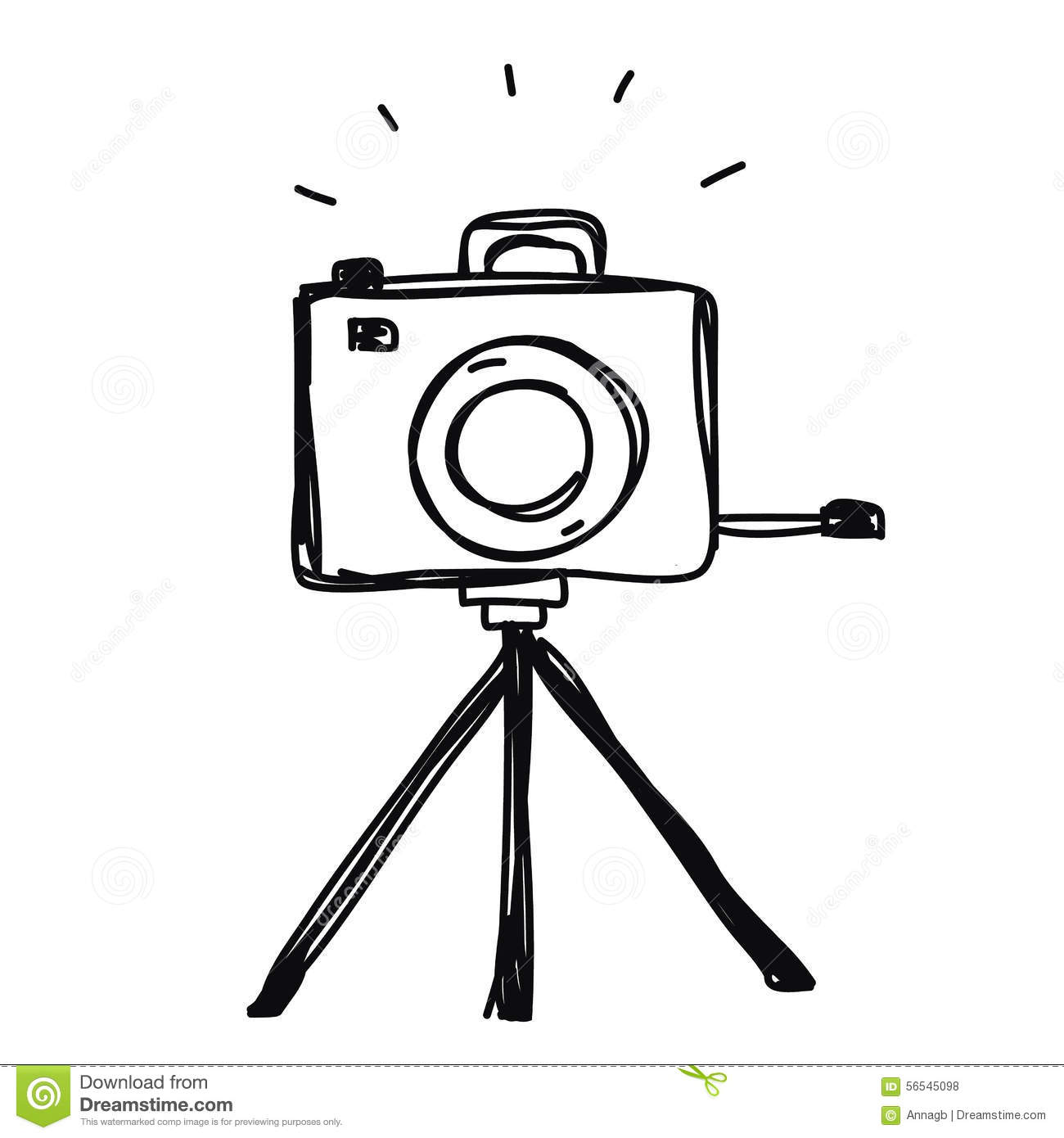 Camera With Tripod Hand Drawn Vector Stock Illustration ...