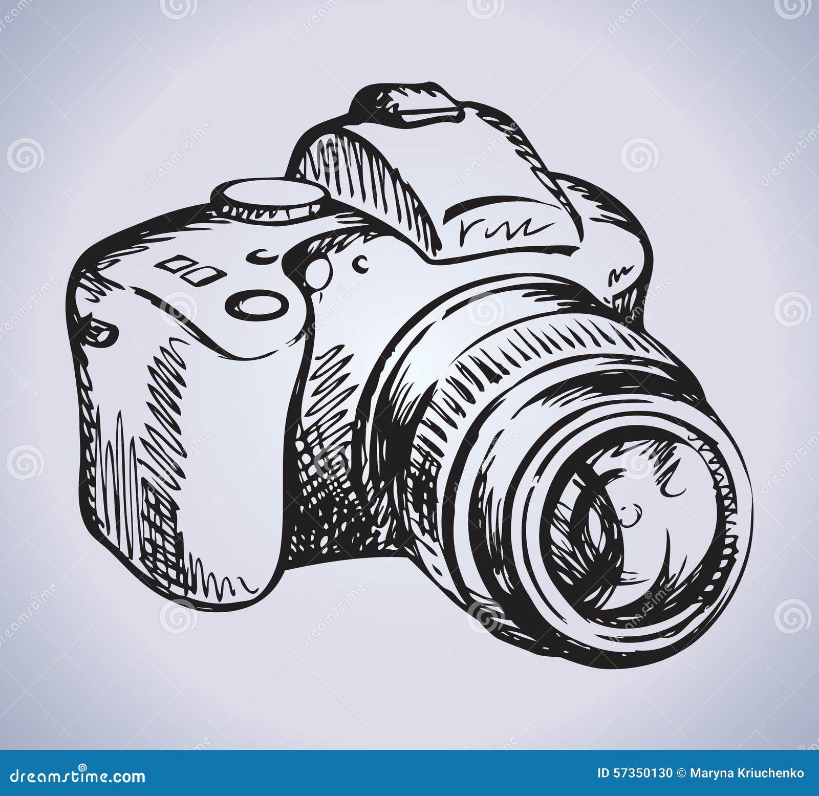 Camera Vector Drawing Stock Vector Image 57350130