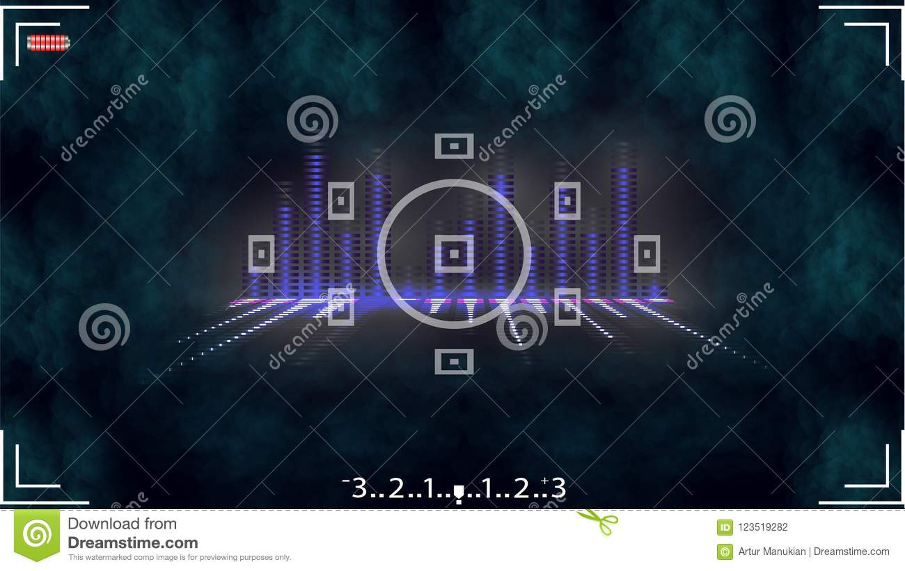 A Camera Viewer With An Equalizer And Smoke Stock Vector