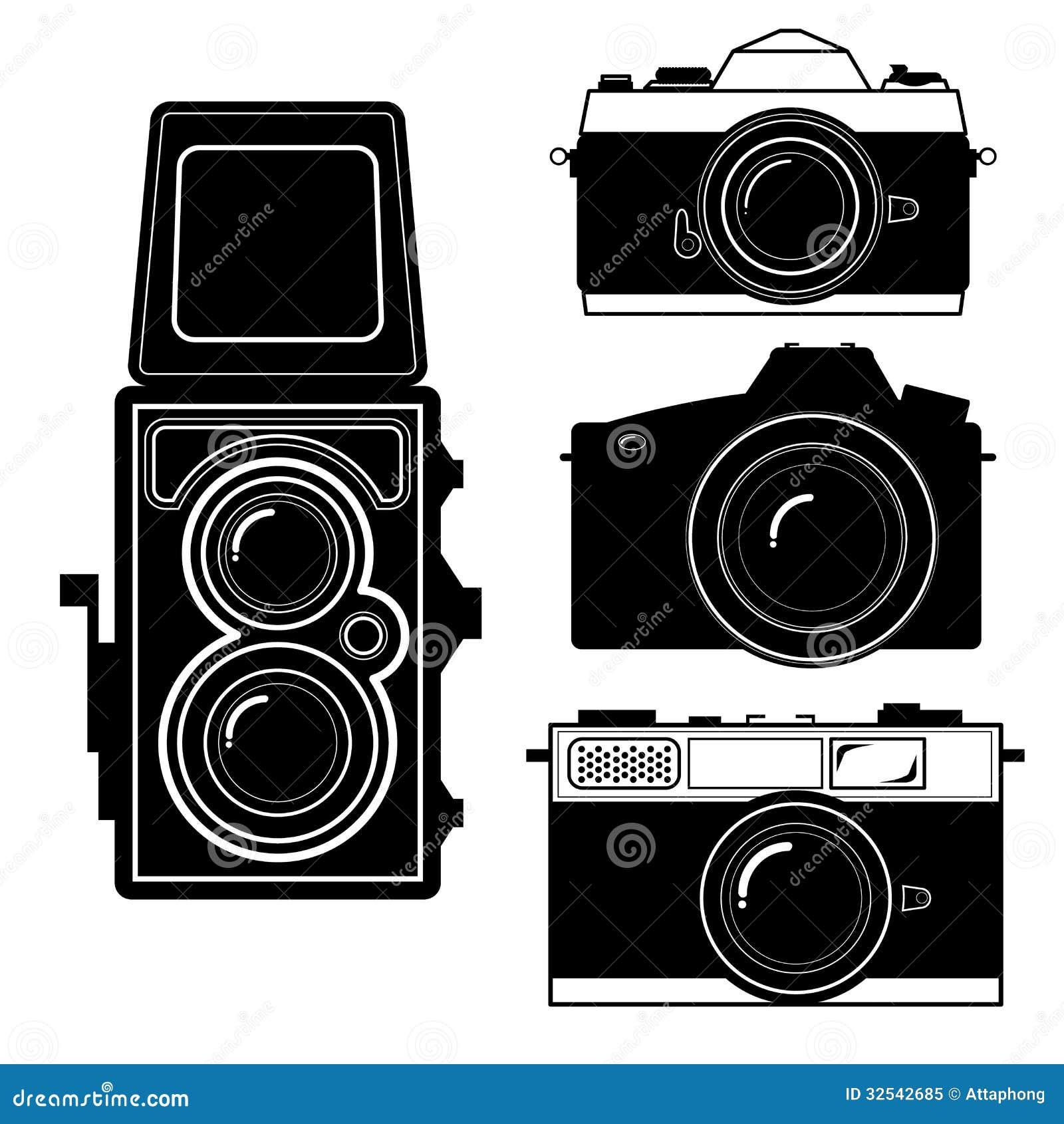 Vintage Retro Old Camera Collection. Hand Drawn Vector Stock ...