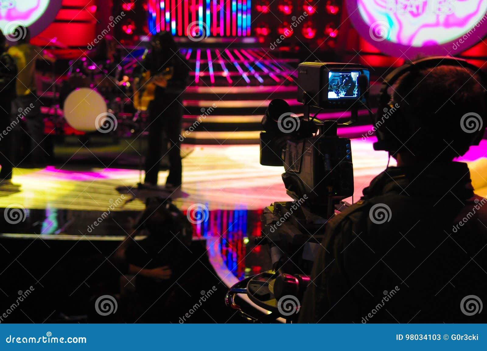 Camerabeeldzoeker, TV-Studio, Live Show, Cameraman Silhouette