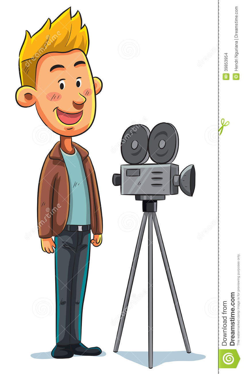 Cartoon illustration of cameraman taking a shot.