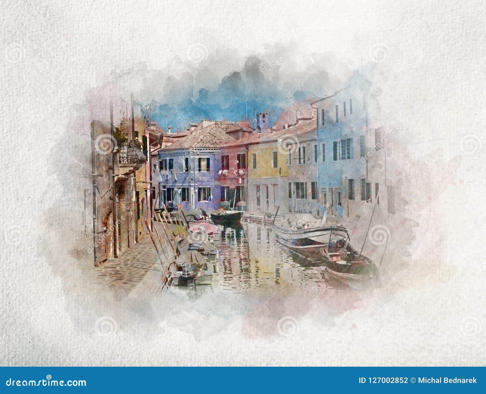 Camere e canale sull isola di Burano in acquerelli