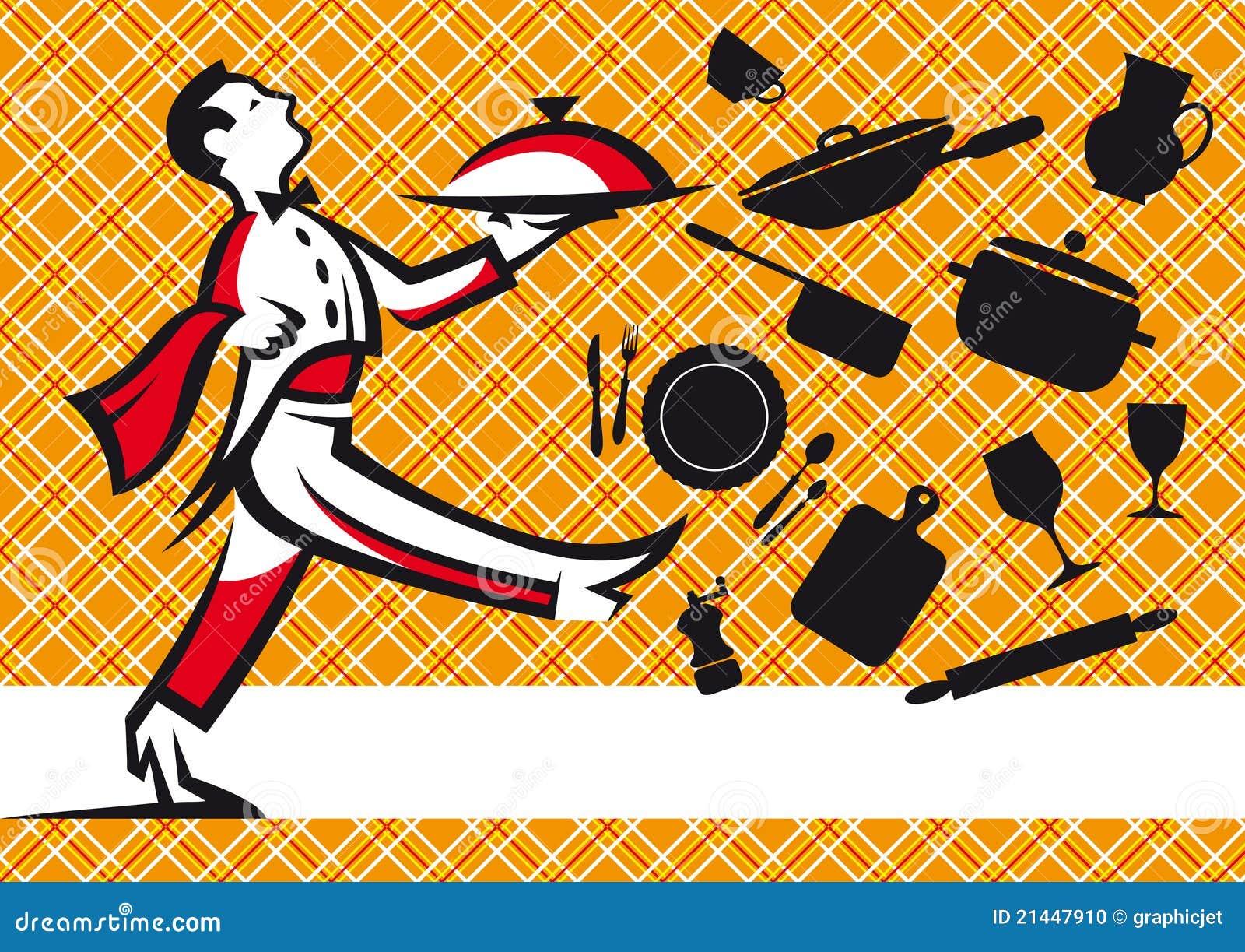 cameriere e disegno della tovaglia degli strumenti della cucina