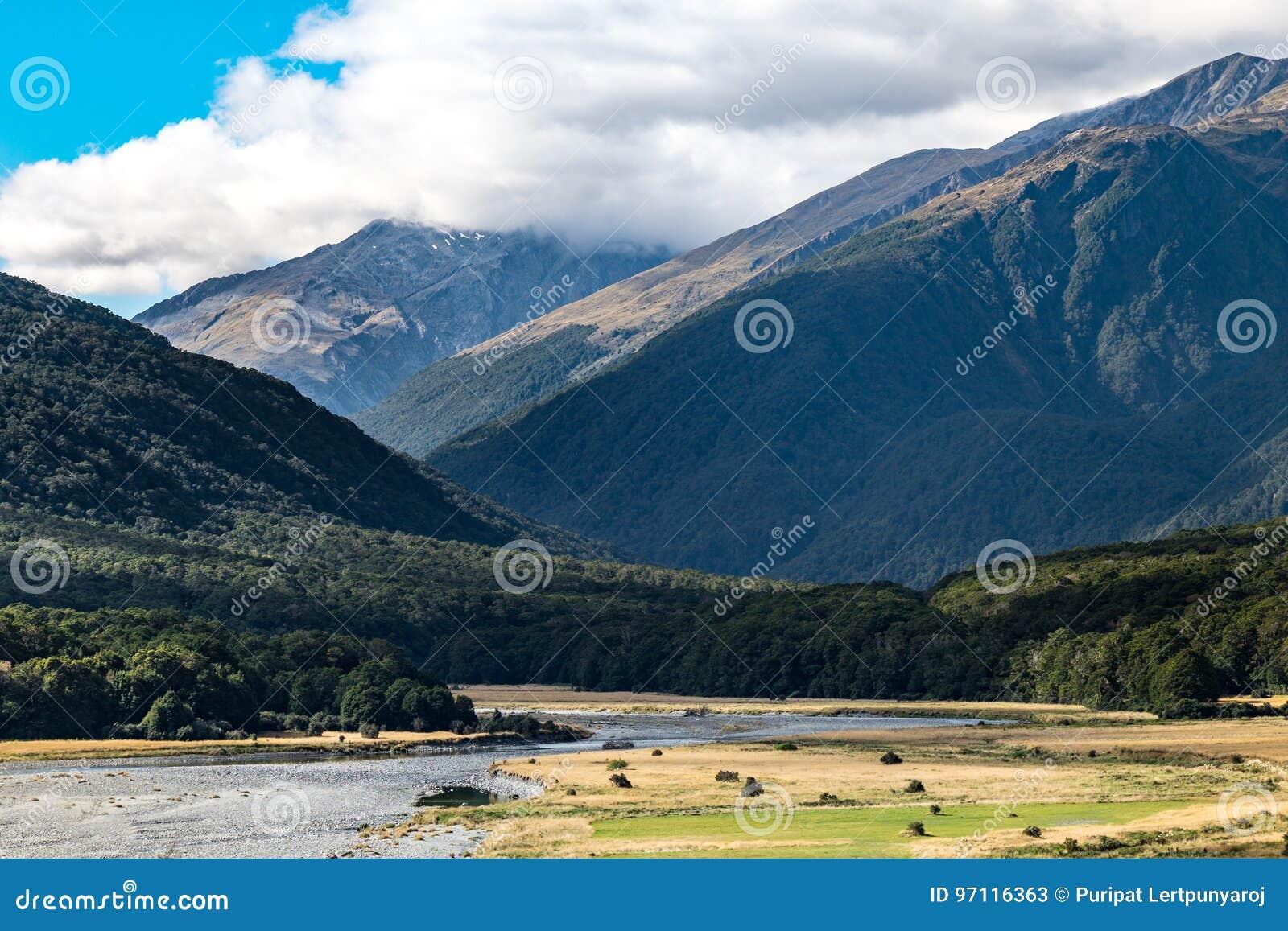 Cameron Flat Camping Ground, zet het Streven Nationaal Park, Nieuw Zeeland op