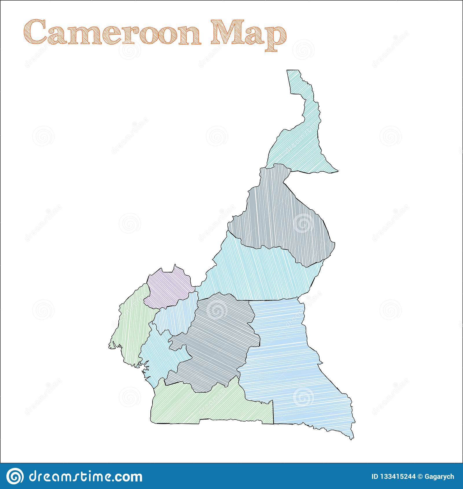 Cameroon hand-drawn map. stock vector. Illustration of africa ... on