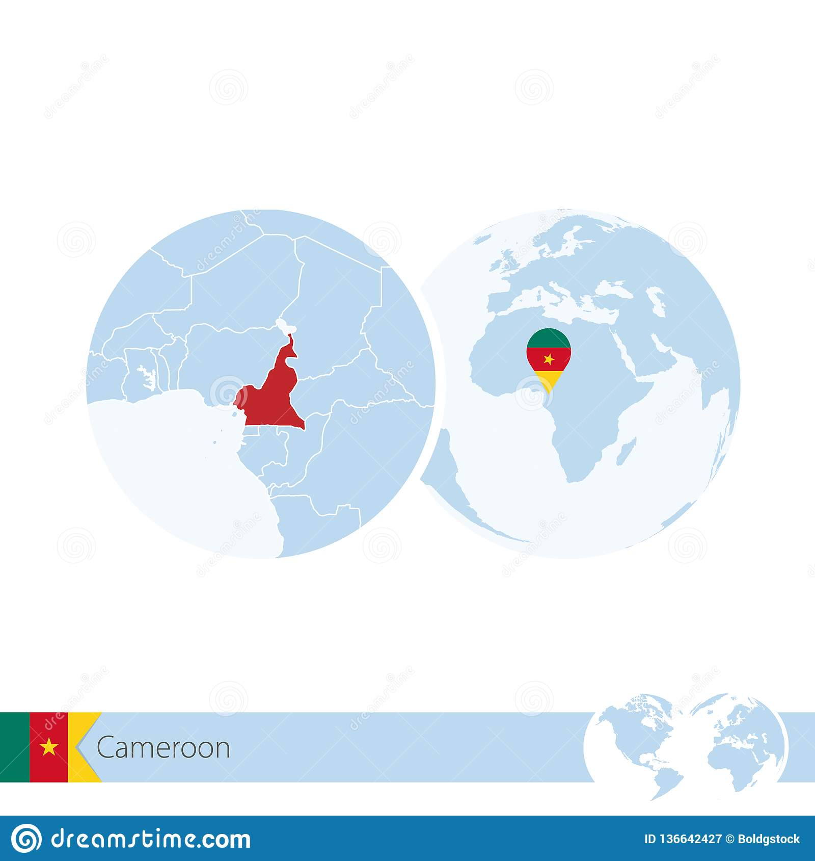 Cameroon On World Globe With Flag And Regional Map Of ...