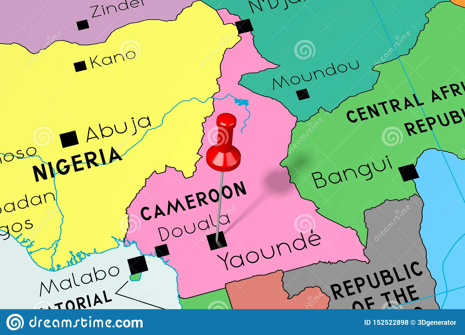 Cameroon, Yaounde - Capital City, Pinned On Political Map ...