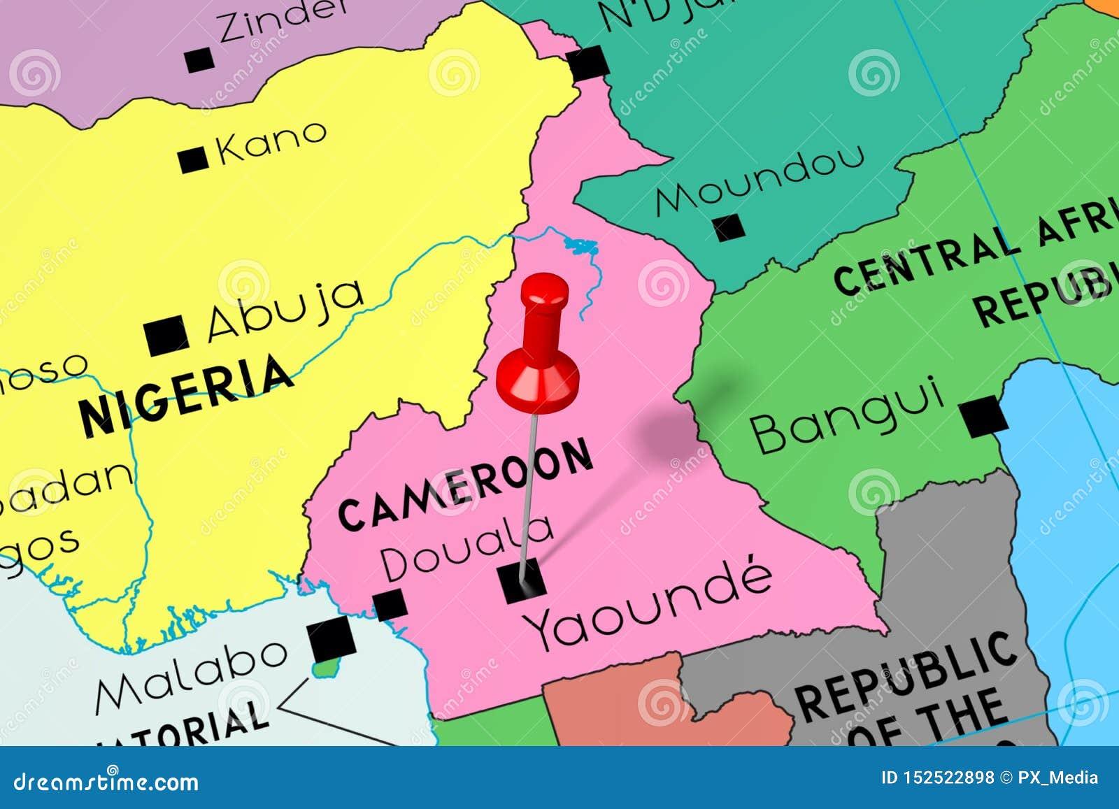 Cameroon, Yaounde - Capital City, Pinned On Political Map ... on côte d'ivoire map, estonia map, grenada map, monaco map, gambia map, saudi arabia map, rwanda map, madagascar map, ghana map, egypt map, mali map, sudan map, namibia map, croatia map, tunisia map, congo map, algeria map, thailand map, kenya map, angola map, liberia map, cape verde map, morocco map, gabon map, uganda map, africa map, libya map, nigeria map, senegal map, malawi map, ecuador map, comoros map, niger map, ethiopia map, mozambique map, zimbabwe map,