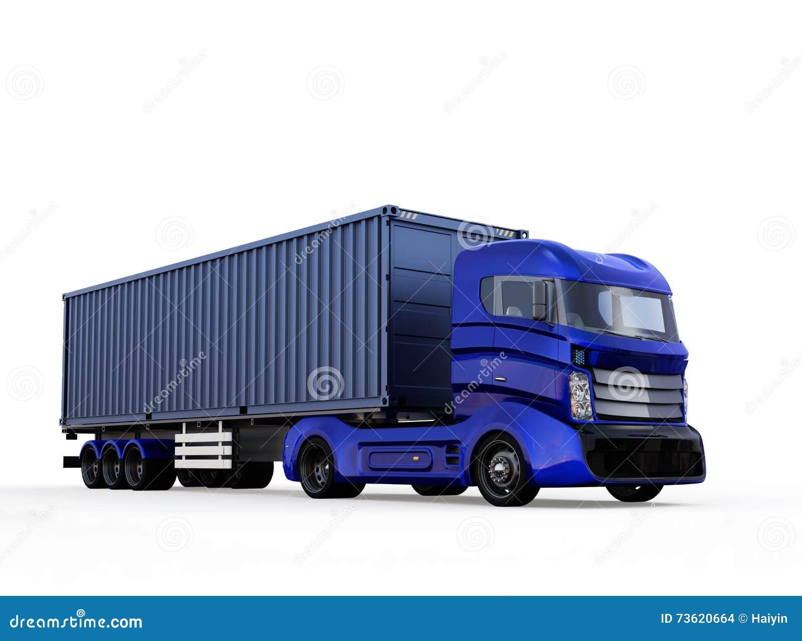 Camión azul del envase aislado en el fondo blanco