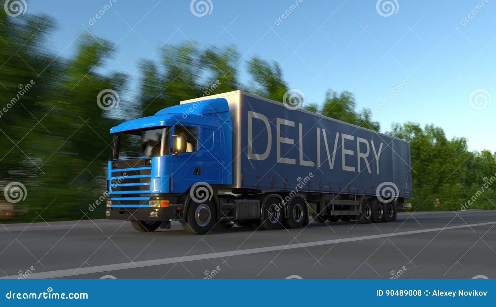 Camión de la carga que apresura semi con el subtítulo de la ENTREGA en el remolque Transporte del cargo del camino representación