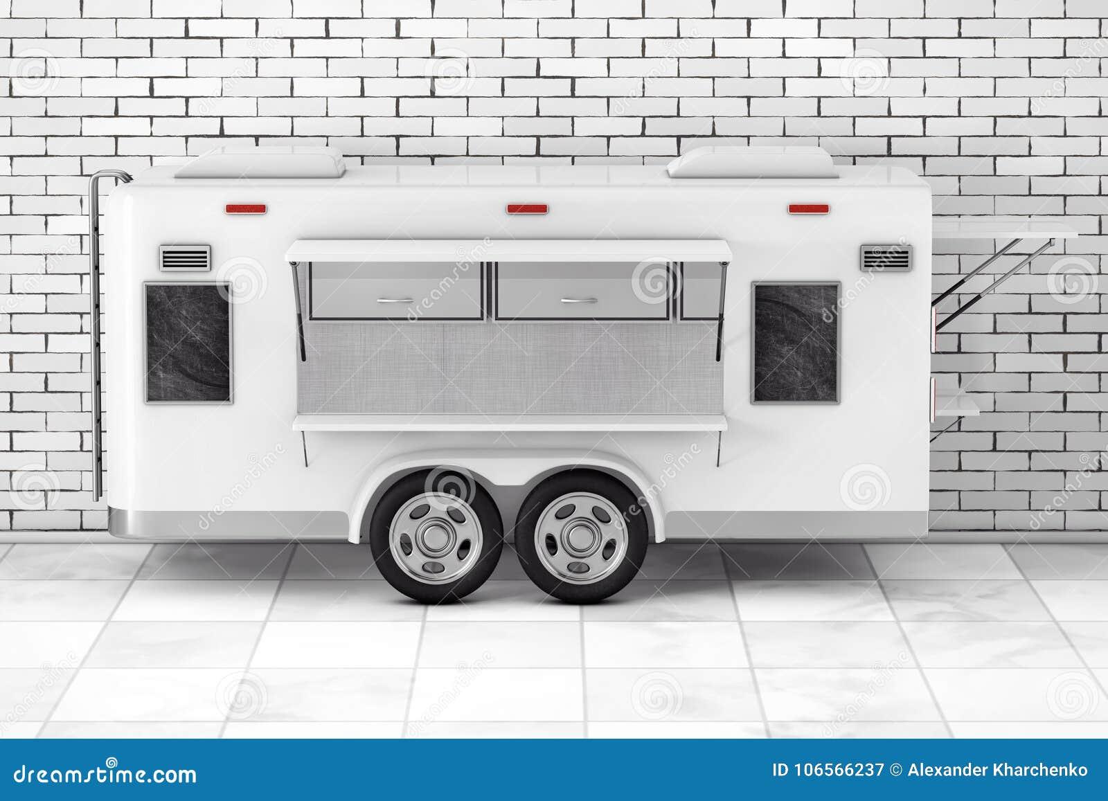 Camión de la comida de la caravana de la corriente aérea representación 3d
