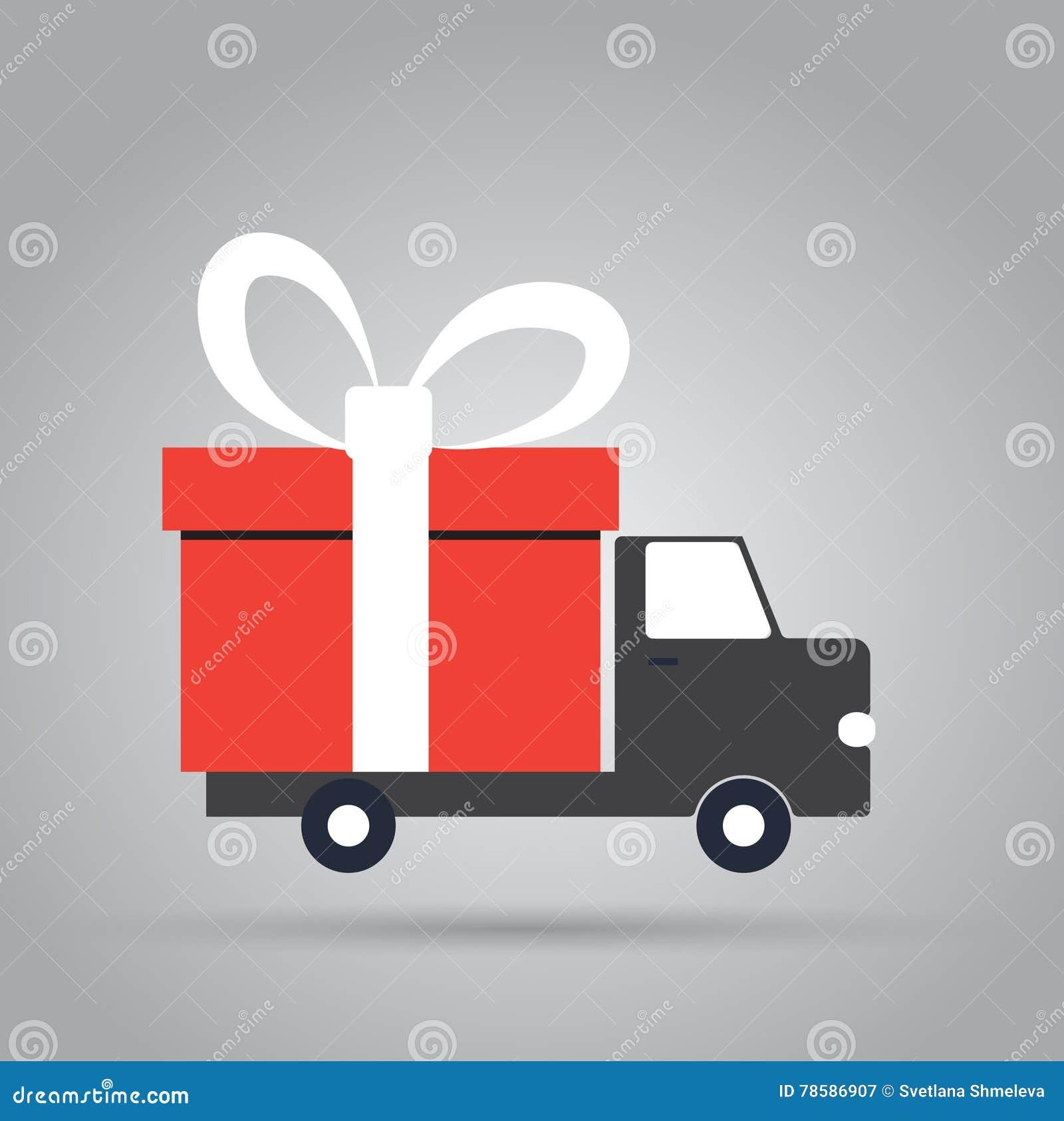 Camión de reparto con la caja de regalo