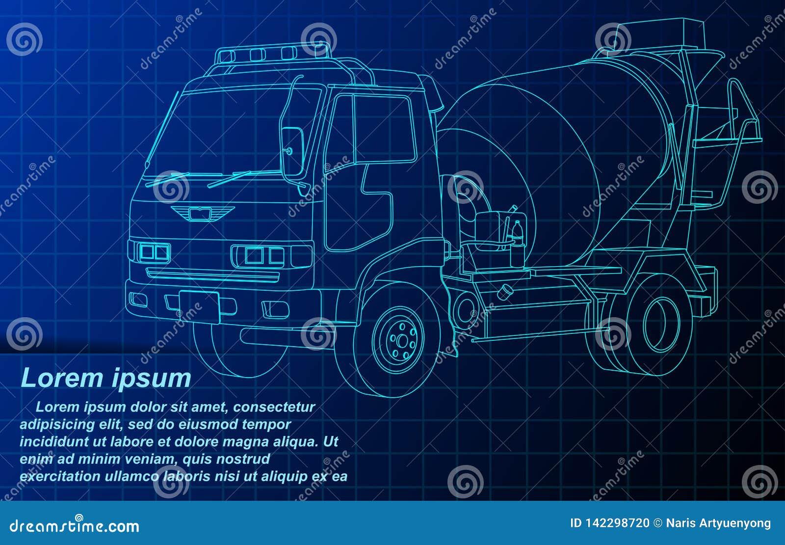 Camión del cemento del bosquejo del esquema del vector en modelo
