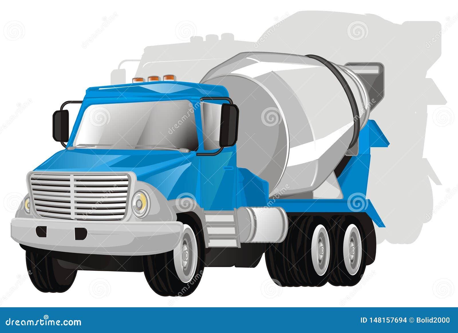 Camión del cemento con la sombra