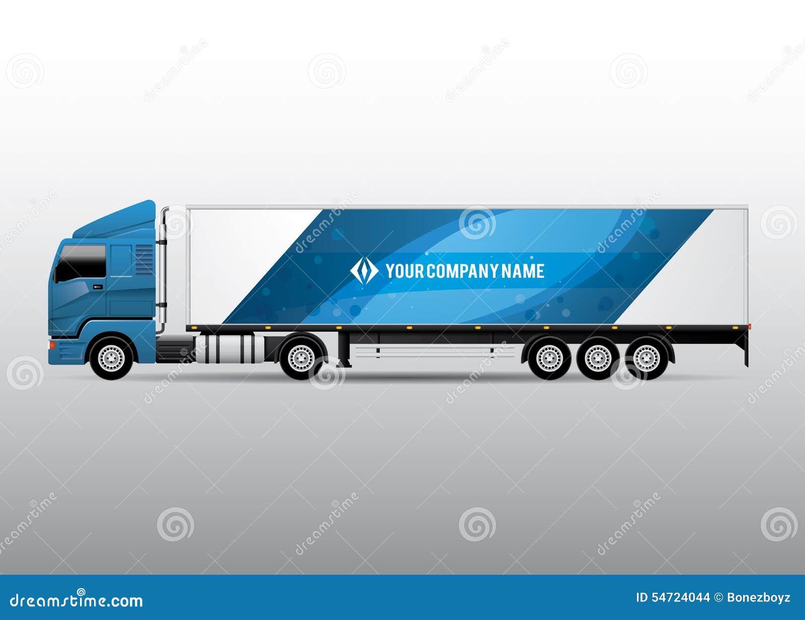 Camión del semi-remolque - anuncio y diseño de la identidad corporativa
