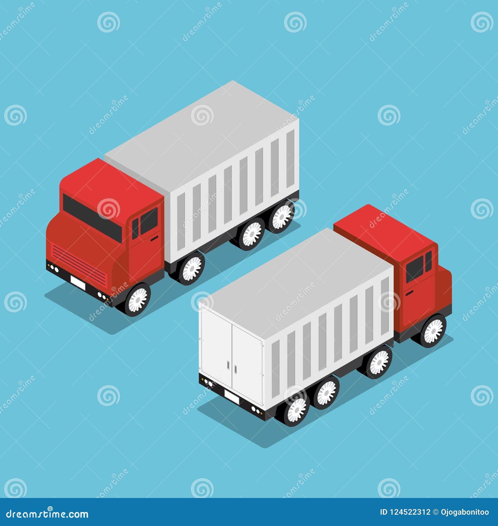 Camión rojo isométrico con el remolque blanco
