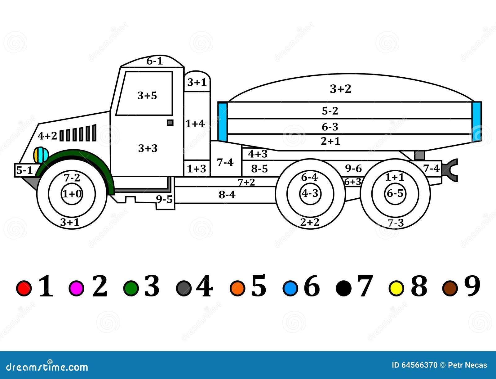 Camión Viejo Con Los Ejemplos Numéricos Para Los Niños - Libro De ...