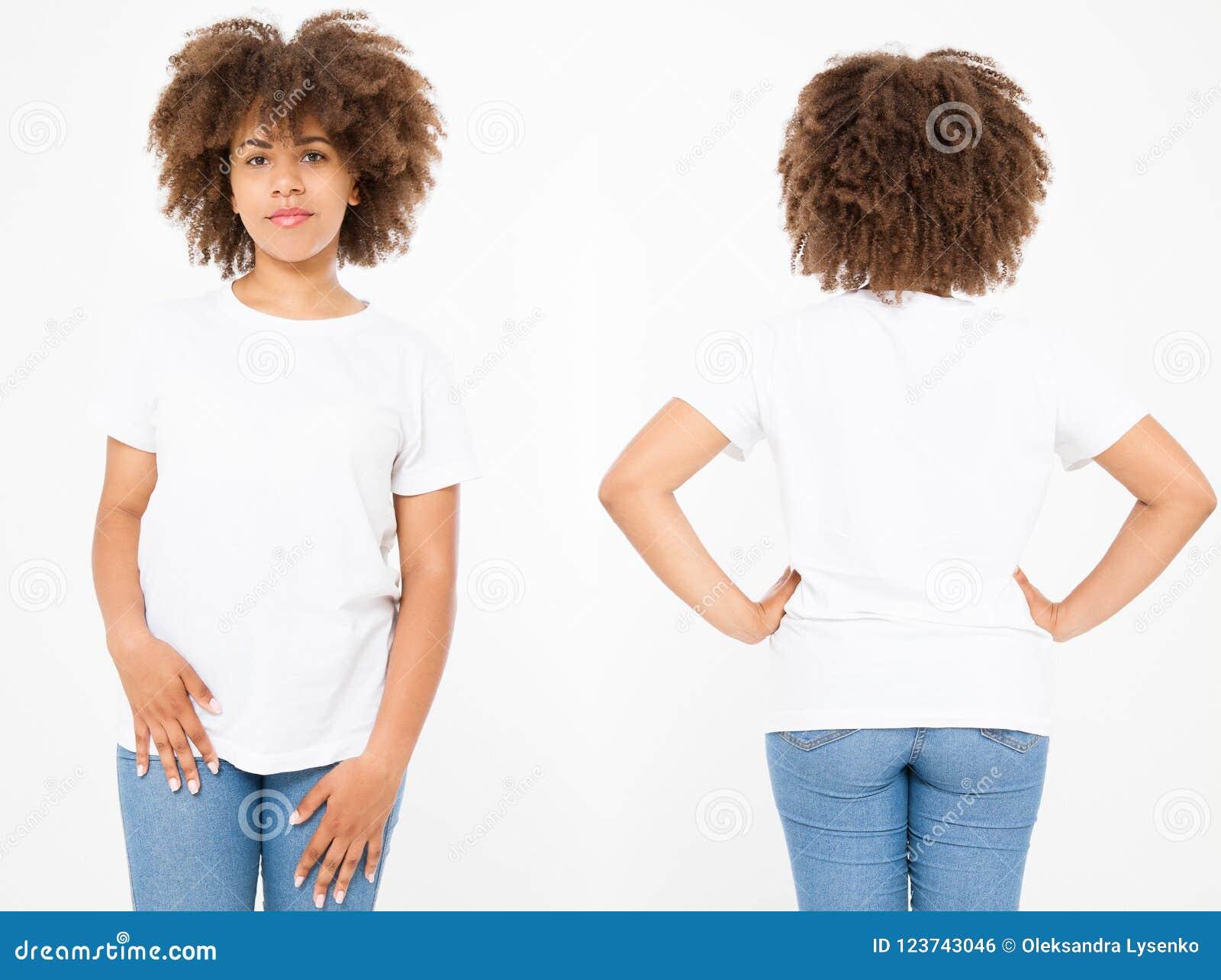 Camice messe Progettazione e fine della maglietta di estate su di giovane donna afroamericana in maglietta in bianco di bianco de