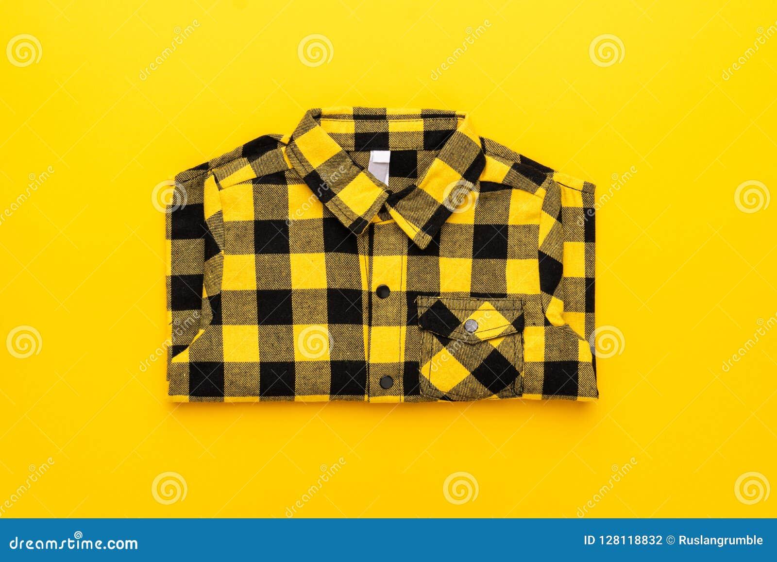 huge discount 17b5d 08454 Camicia A Quadretti Gialla E Nera Fotografia Stock ...