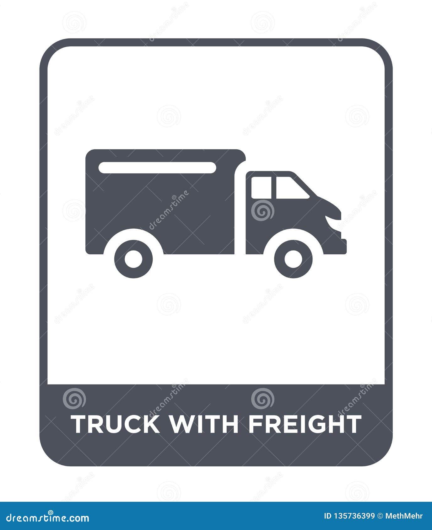 Caminhão com ícone do frete no estilo na moda do projeto caminhão com o ícone do frete isolado no fundo branco caminhão com vetor