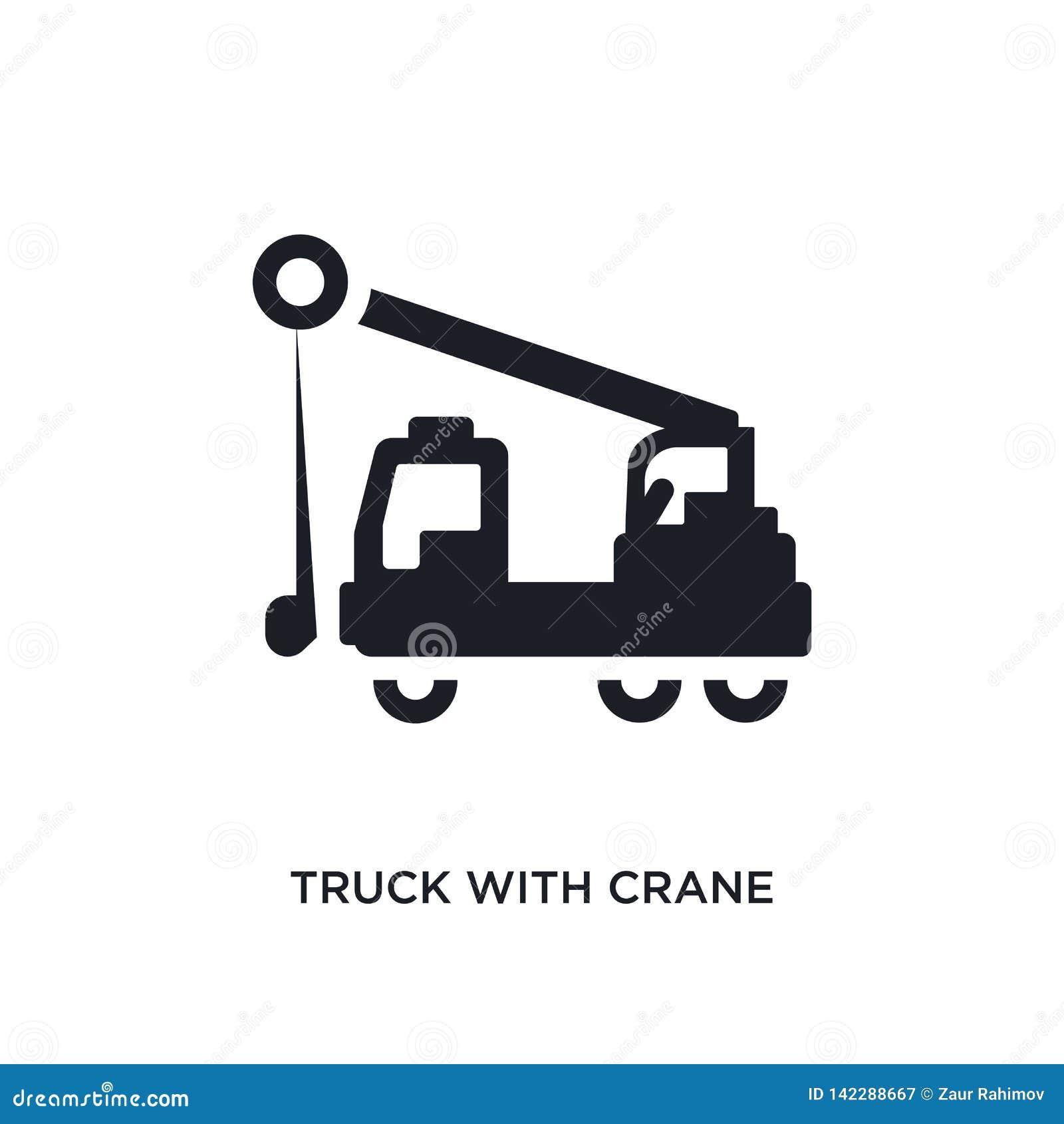 Caminhão com ícone isolado guindaste ilustração simples do elemento dos ícones do conceito da construção caminhão com sinal editá