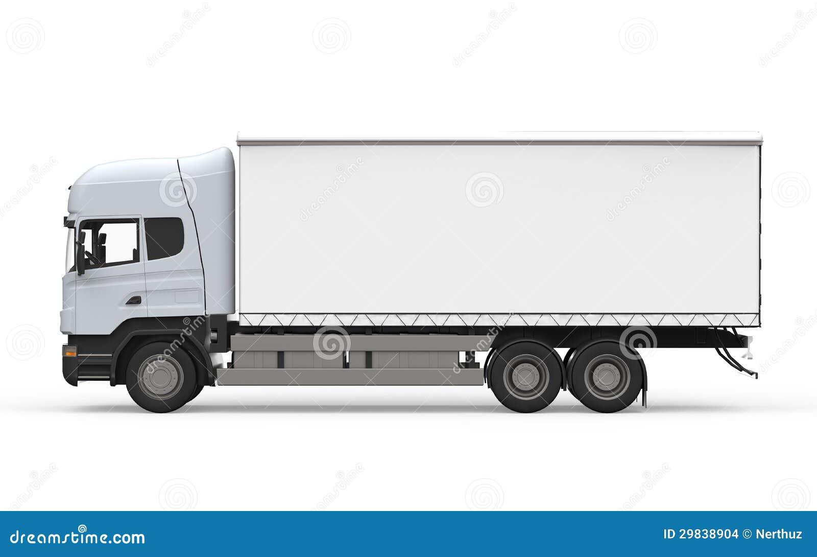 Caminhão de entrega da carga isolado no fundo branco