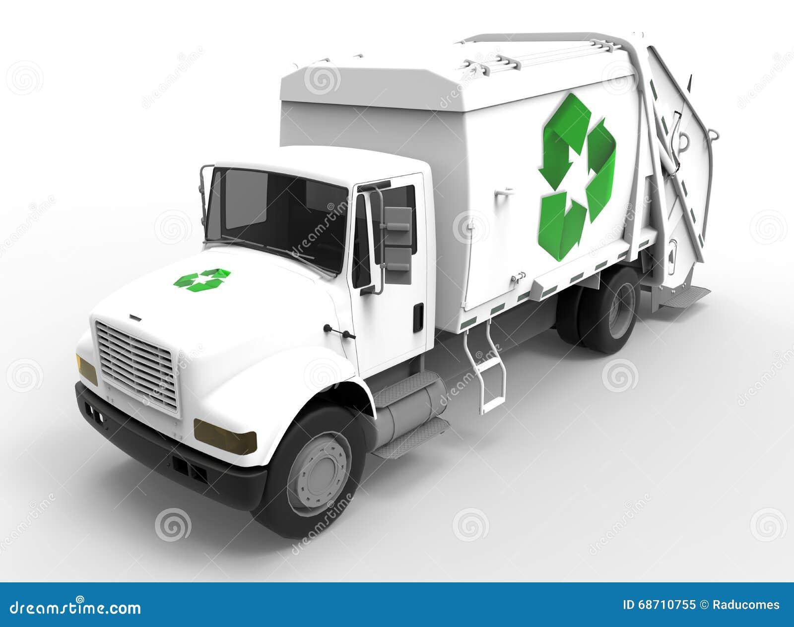 Caminhão de lixo no branco com sombras