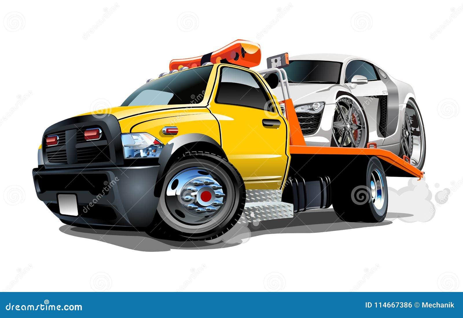 Caminhão de reboque dos desenhos animados isolado no fundo branco