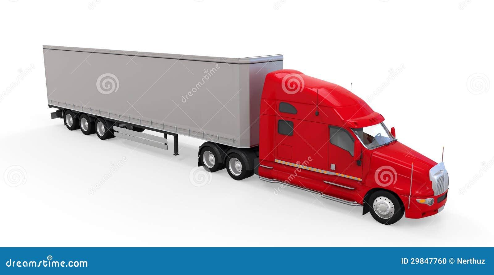 Caminhão de reboque vermelho isolado no fundo branco