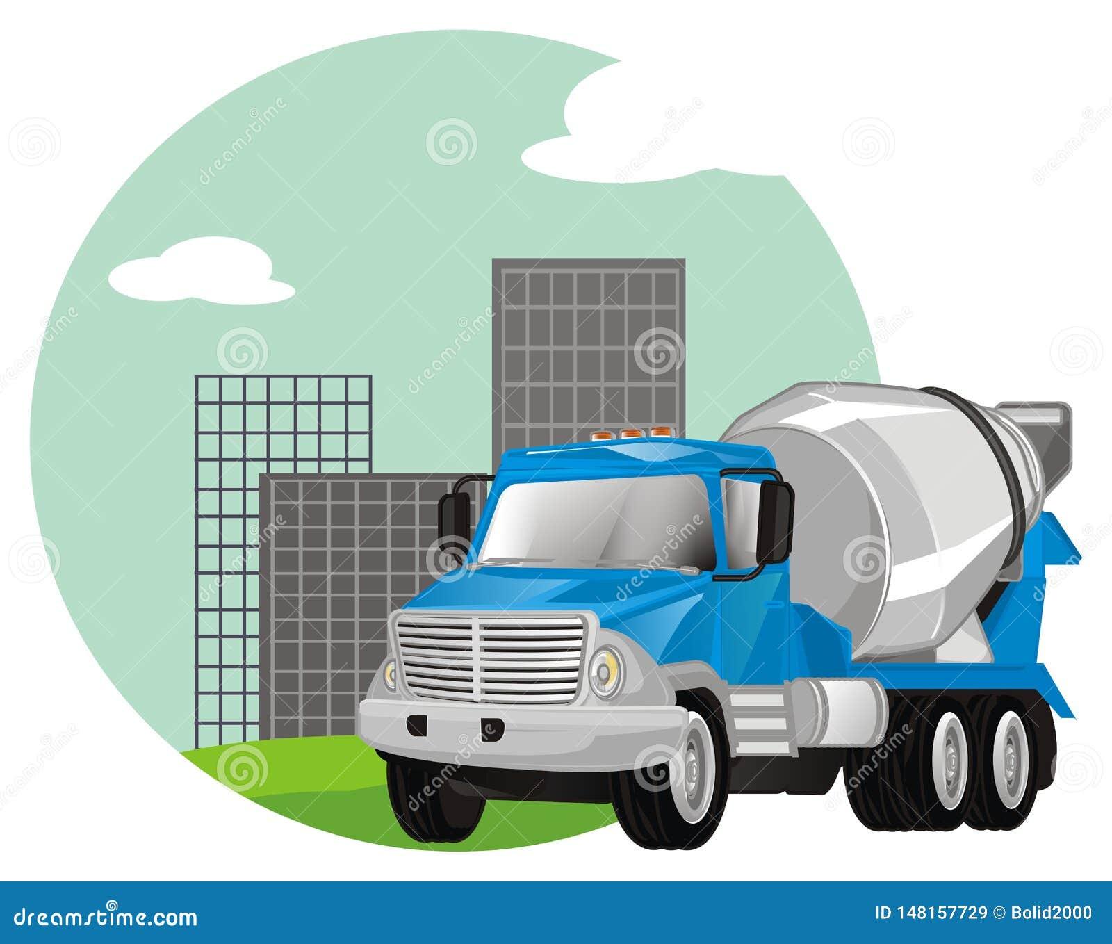 Caminhão do cimento com ícone