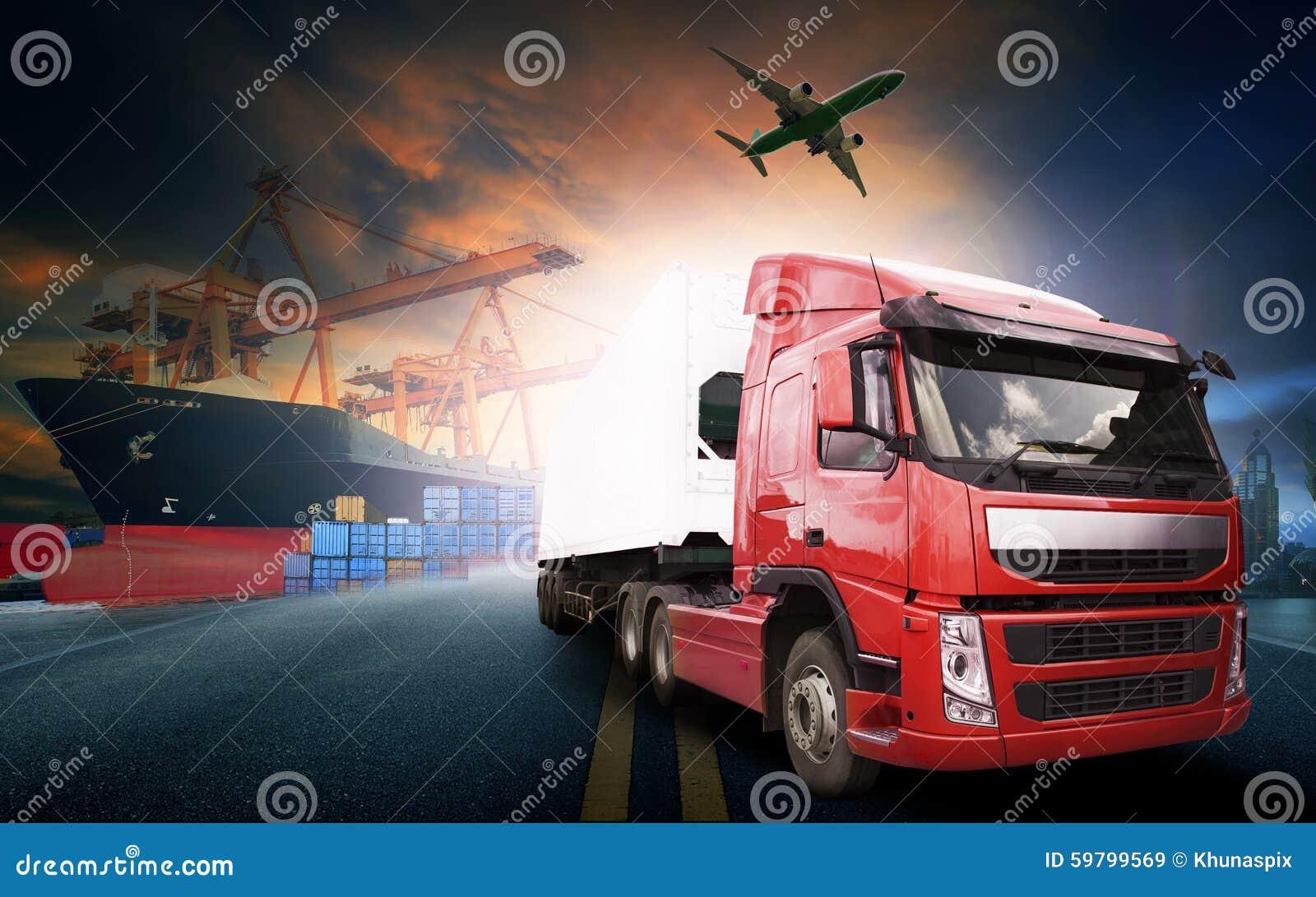 Caminhão do recipiente, navio no porto e avião de carga do frete no transpo