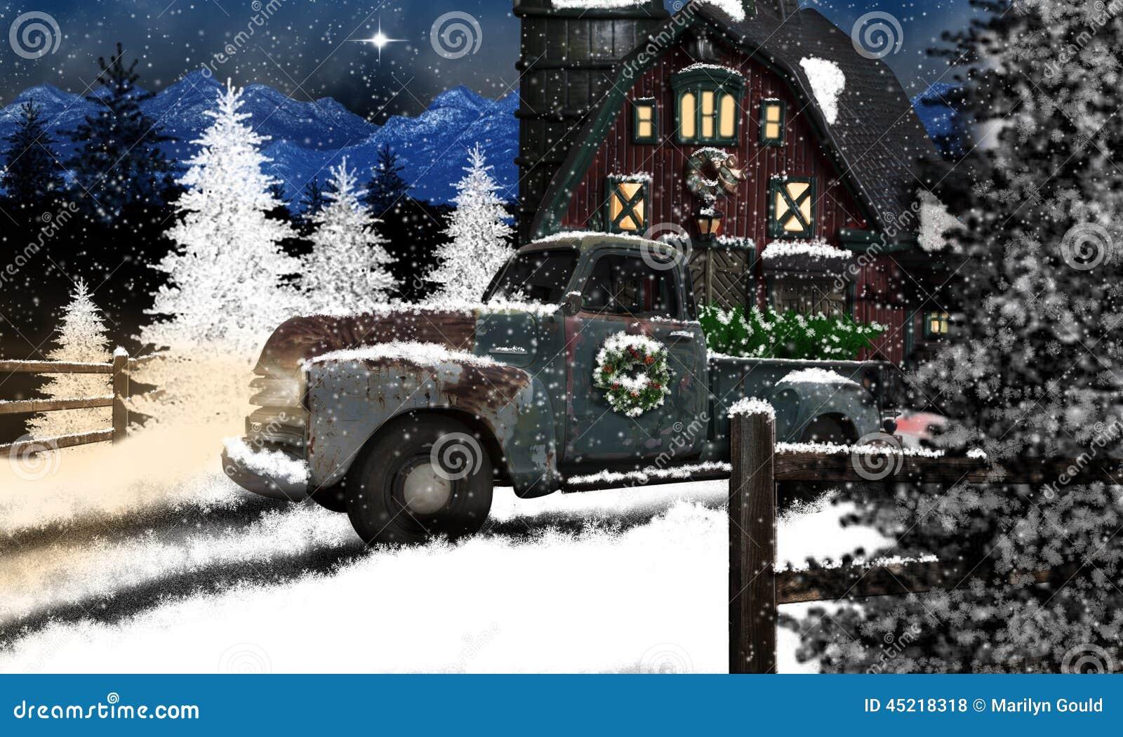 Caminhão e celeiro velhos no Natal