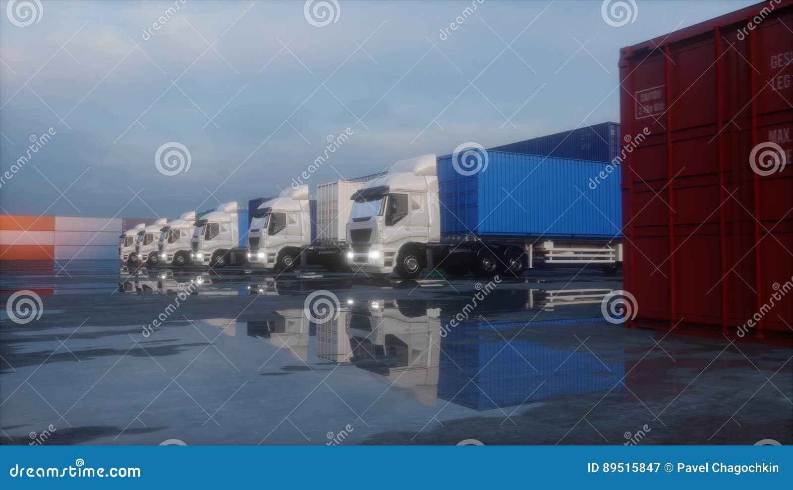 Caminhão no depósito do recipiente, armazém, porto Recipientes de carga Conceito logístico e do negócio rendição 3d