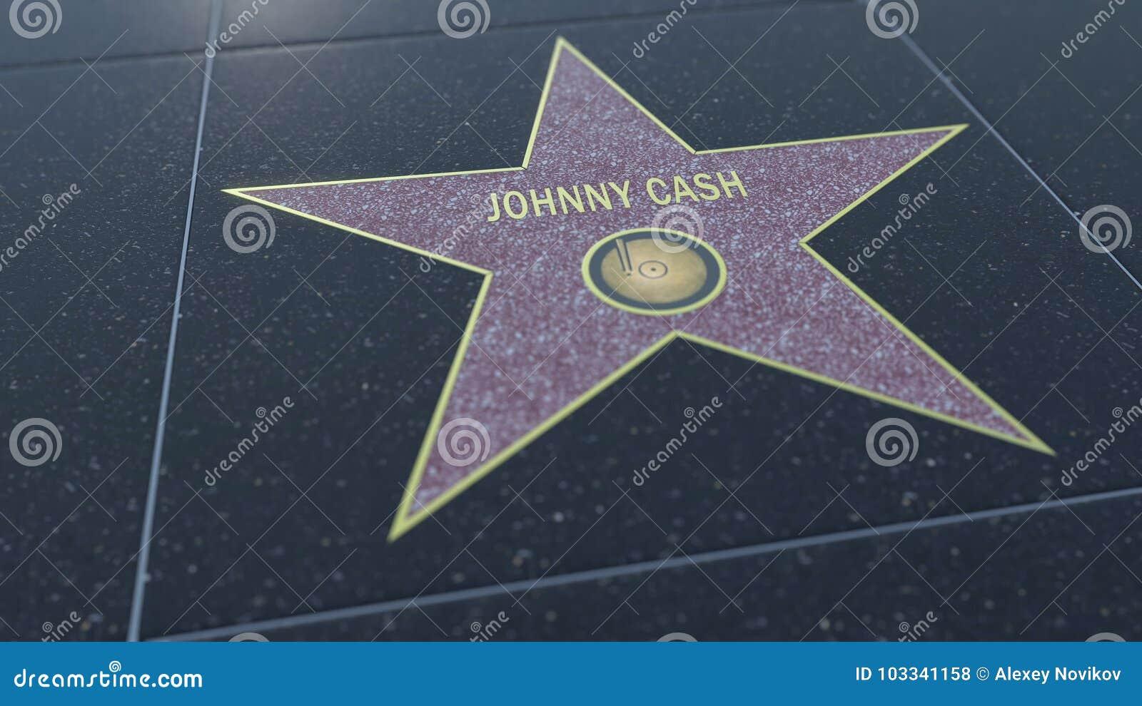 Caminhada de Hollywood da estrela da fama com inscrição de JOHNNY CASH Rendição 3D editorial