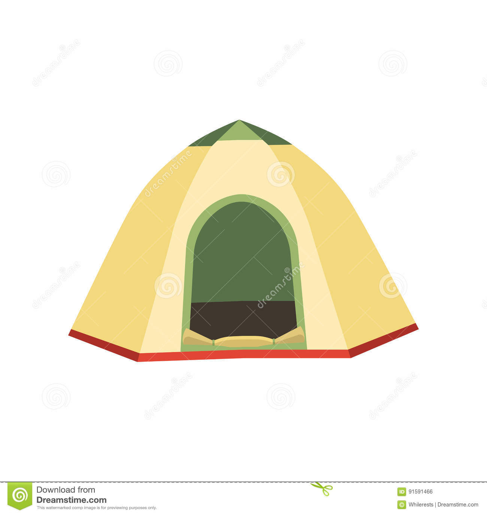 Caminhando e ícones do vetor da barraca de acampamento Coleção lisa das barracas do triângulo e do projeto da abóbada em verde, e