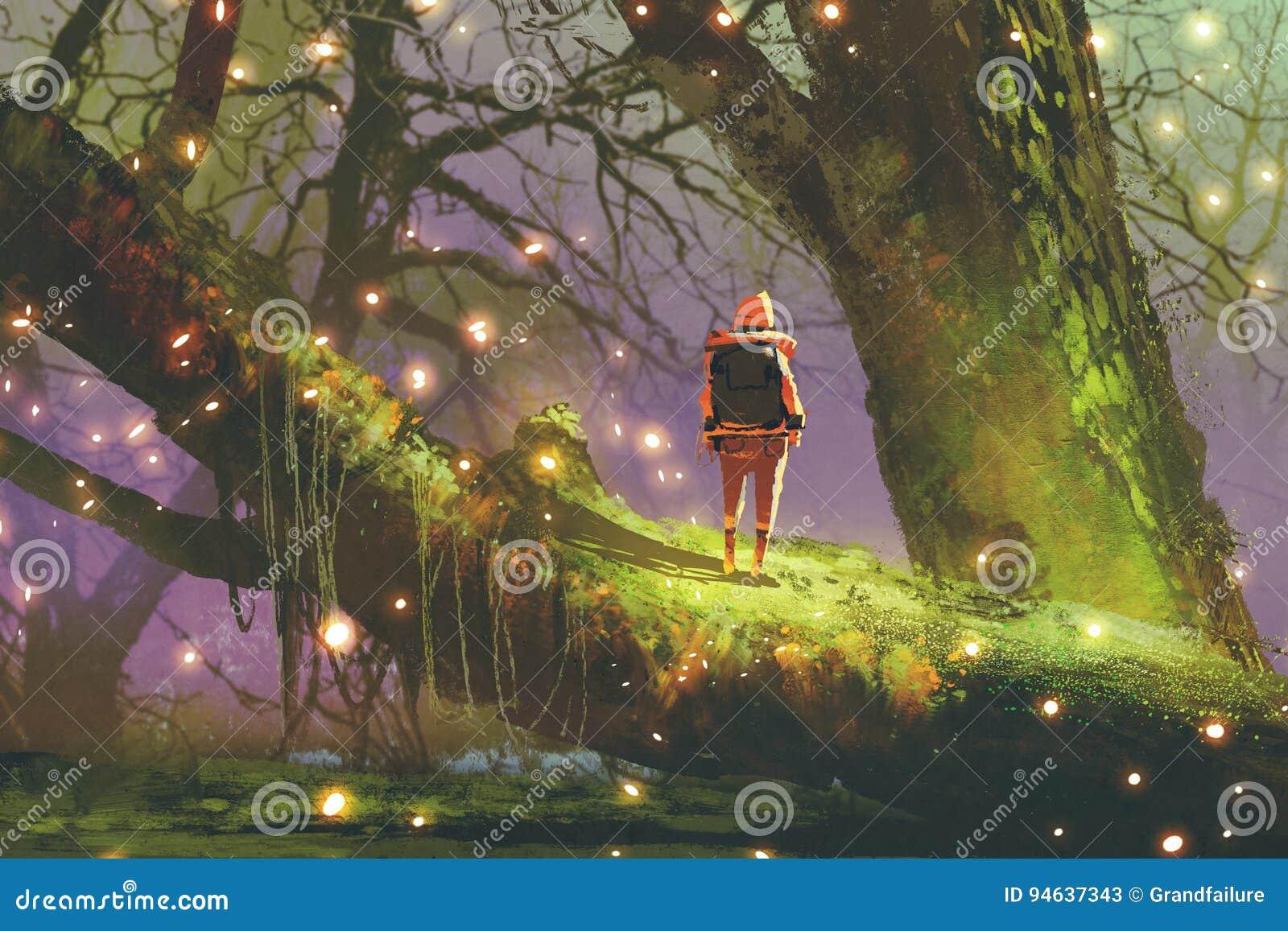 Caminhante com a trouxa que está na árvore gigante