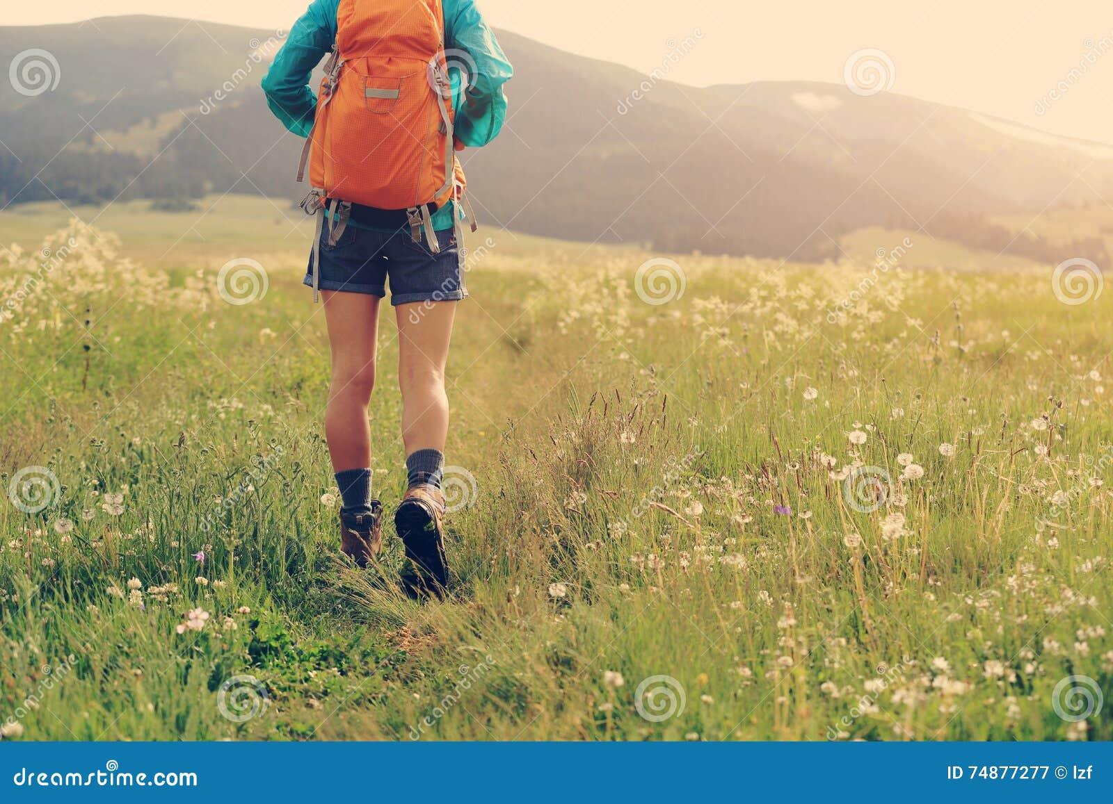Caminhante que anda na fuga na pastagem
