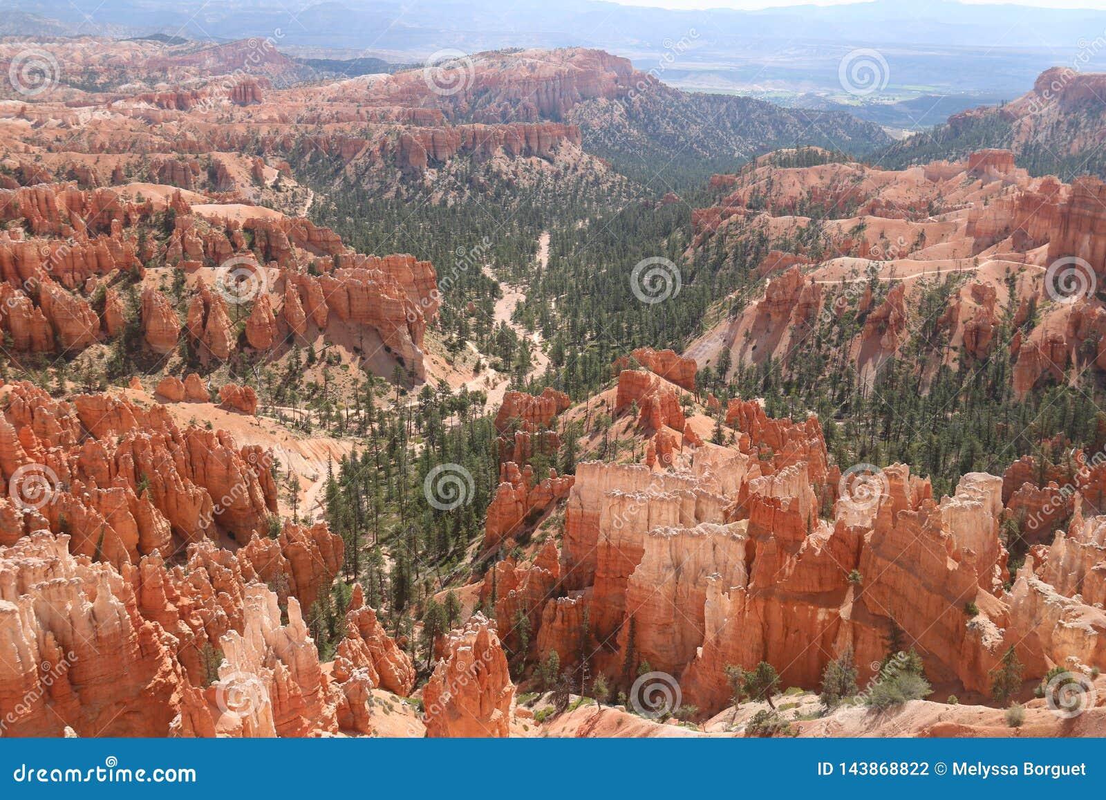 Camini leggiadramente rossastri Bryce Canyon dei paesaggi montagnosi