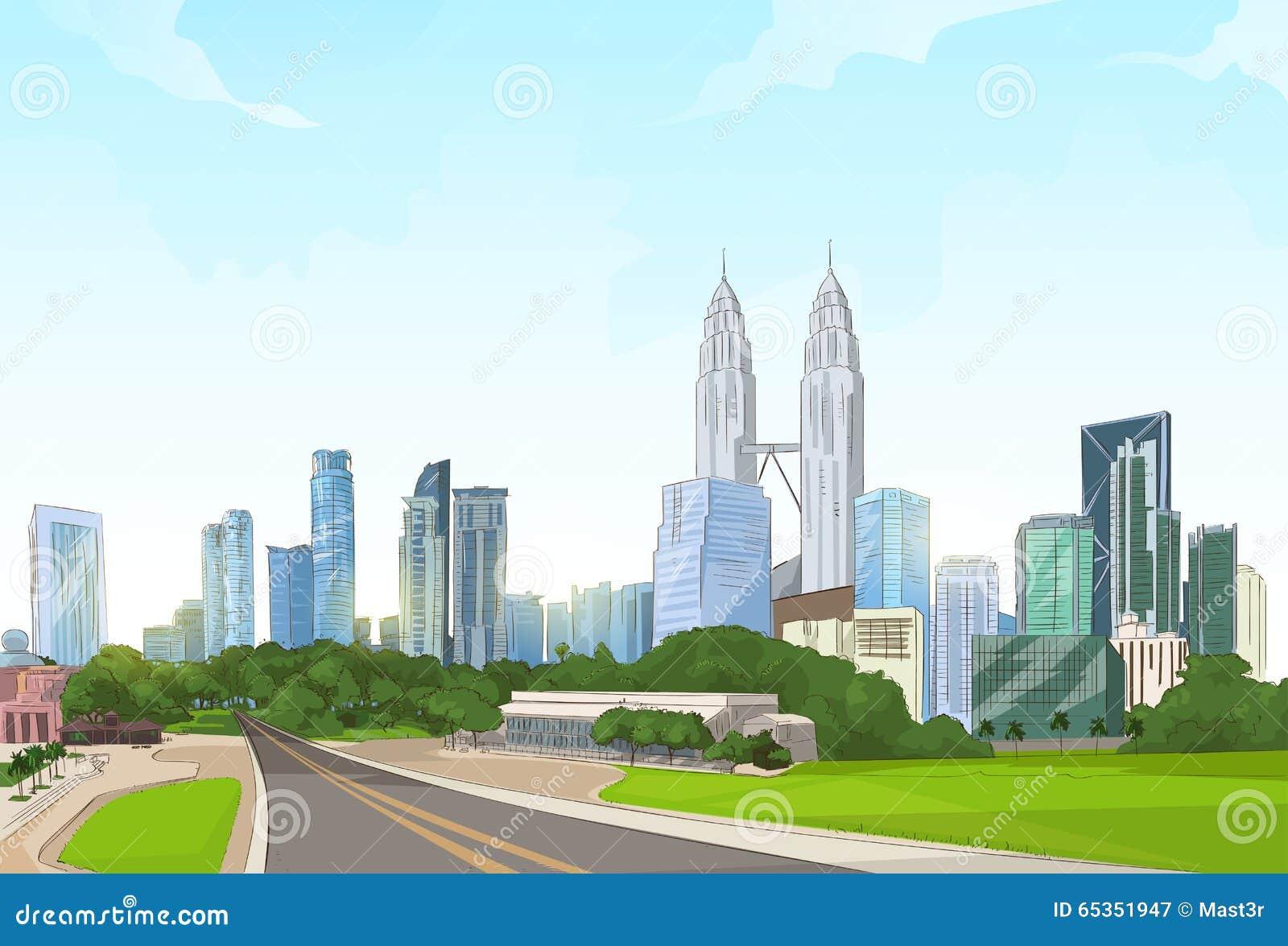 Camino al paisaje urbano moderno del rascacielos de la opinión de la ciudad
