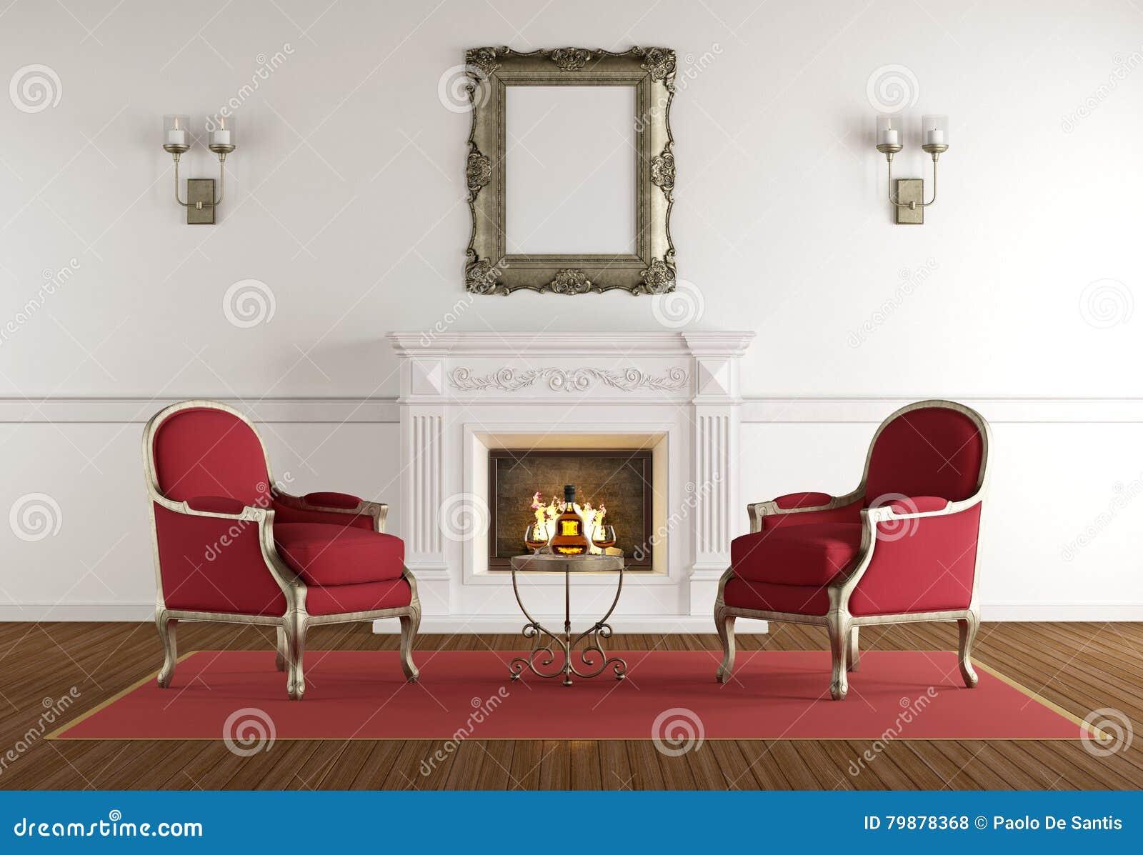 Camino Classico Bianco : Camino bianco in un salone classico illustrazione di stock