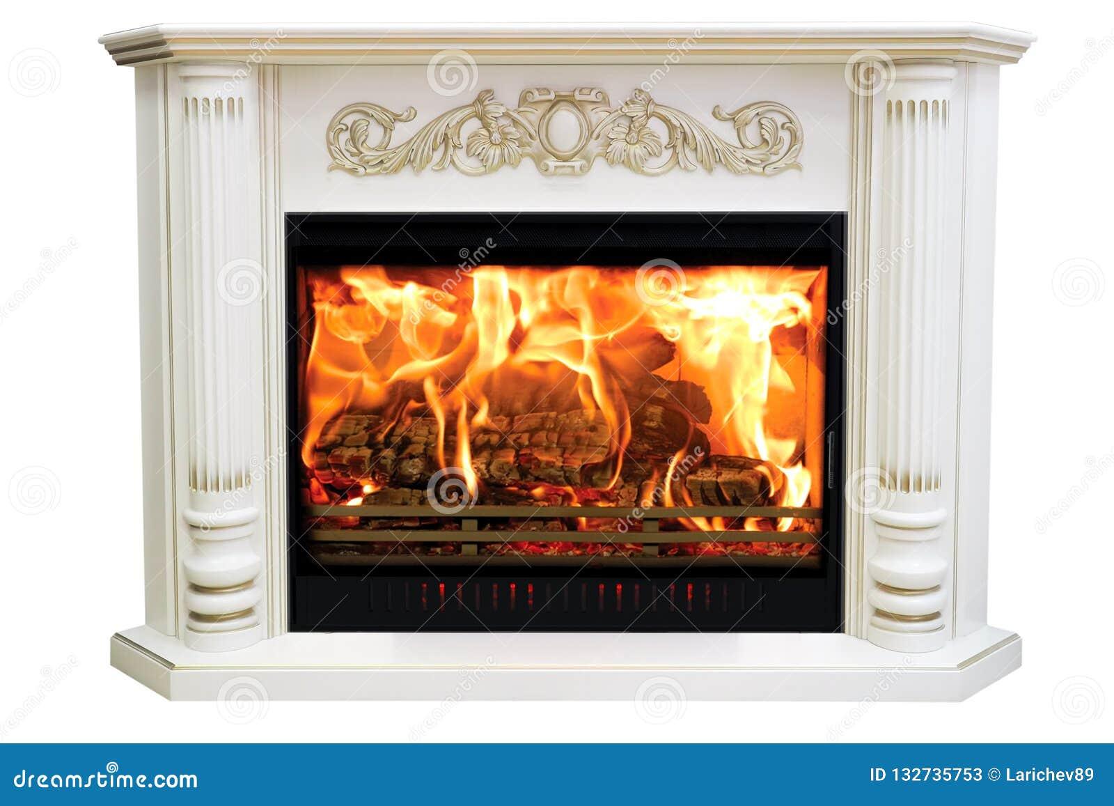Camino Classico In Marmo camino classico bruciante di marmo bianco isolato su bianco
