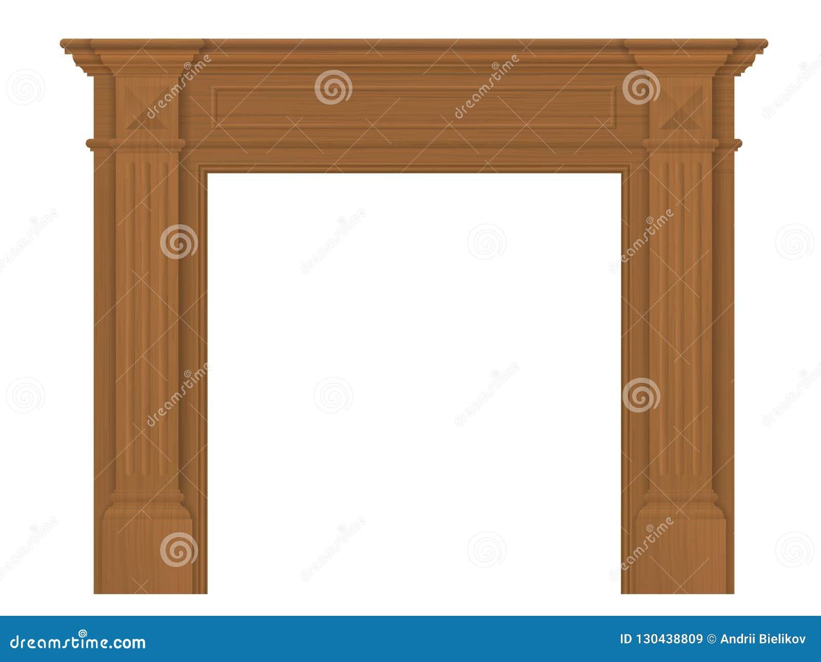 Legno Decorativo Per Camino camino classico di bordi di legno illustrazione vettoriale