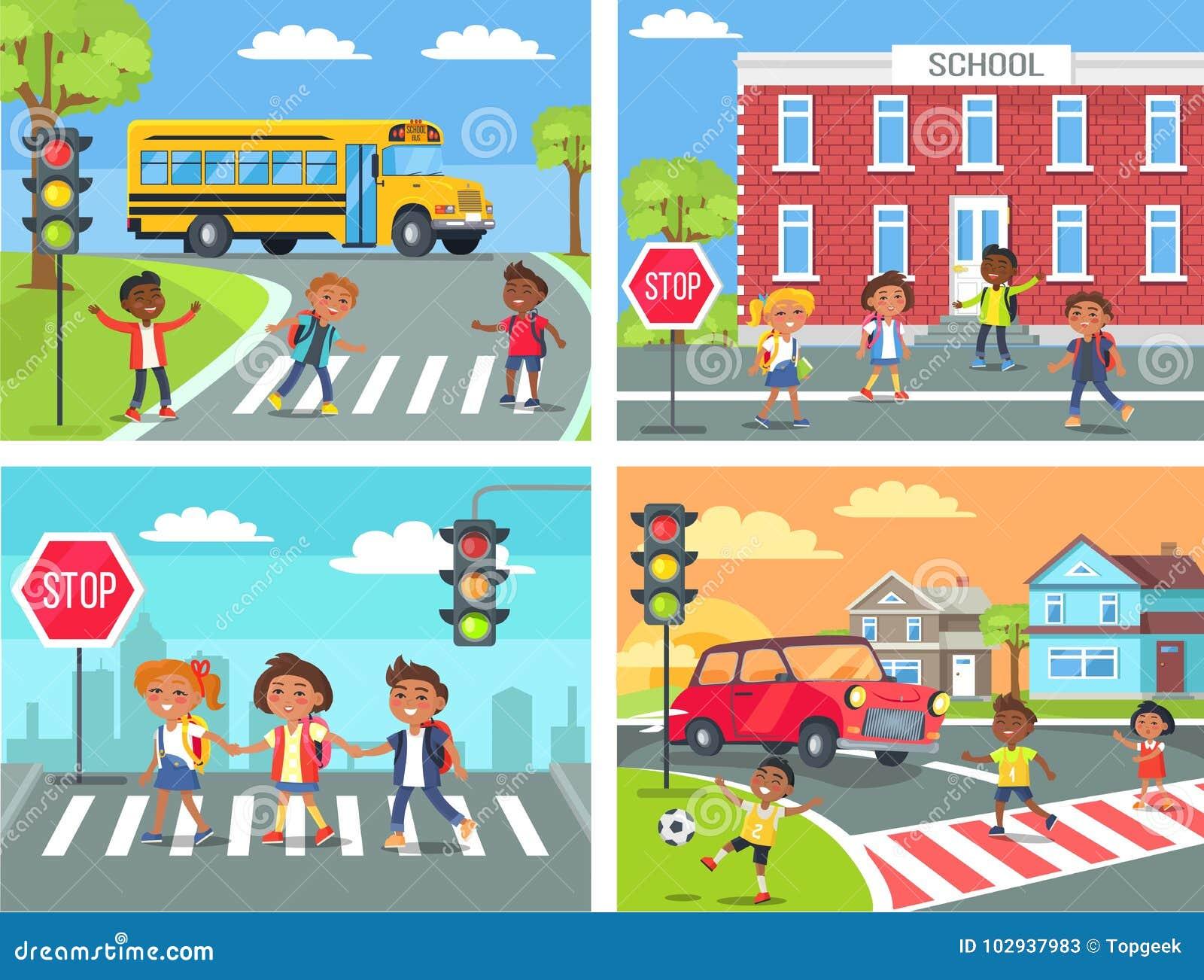 Camino cruzado de los alumnos en el paso de peatones