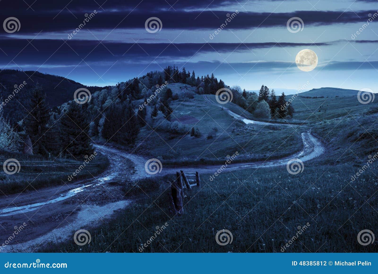 Camino cruzado en prado de la ladera en montaña en la noche