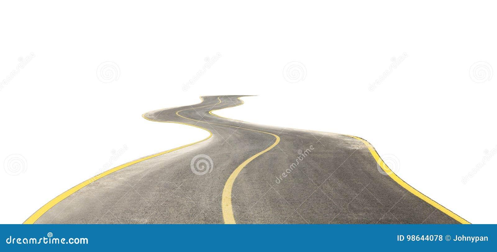 Camino curvado aislado en blanco